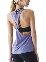 Trendy Women's Solid Open Back Workout Sports Tank Top Light Purple