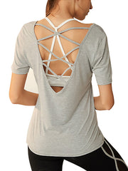 Open Back Cross-strap Workout Sports Top