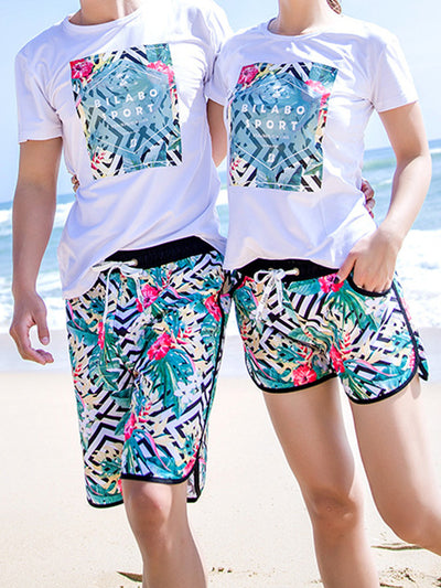 Tropical Plants Geo Pattern Couple's Beach Shorts Green