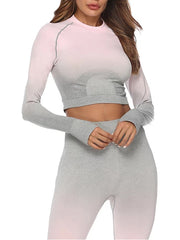 LikeBunny Ombre Long Sleeve Crop Top