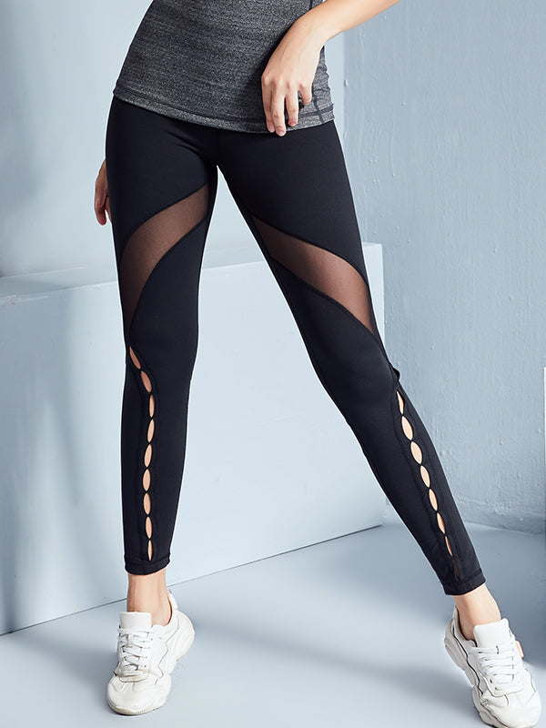 LikeBunny High-Rise Mix Mesh Black Sports Leggings