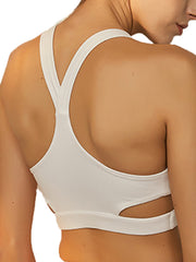 Stylish Women's High Impact Support Workout Sports Bra White