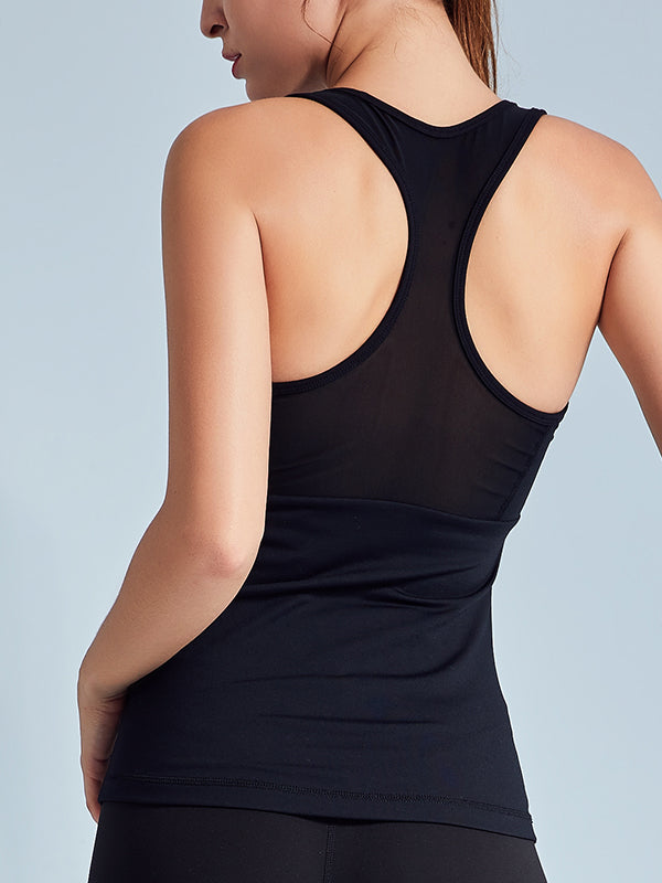 LikeBunny See Through Mesh-Mix Racerback Sports Tank Black