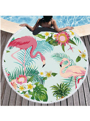 Flamingo Plants Printed Tassel Round Beach Towel Tropical Flowers Light Blue