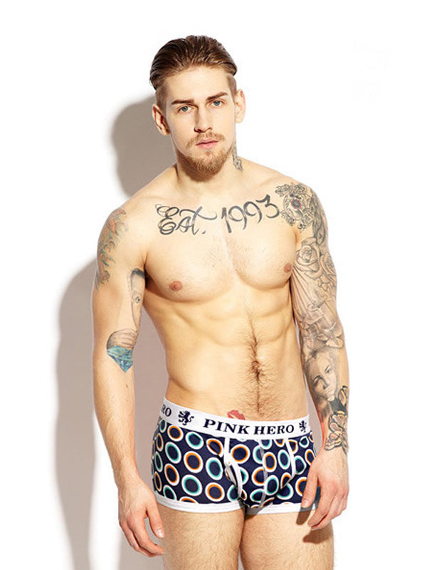 Classic Geo Pattern Couple Matching Underwear Circle Blue Black Pink Men