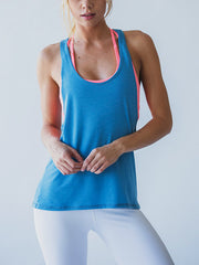 Trendy Women's Solid Open Back Workout Sports Tank Top Light Blue
