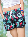 Flamingo Tropical Plant Pattern Couple's Beach Shorts Green Black Women