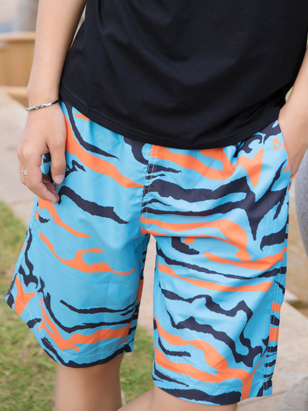Blue and Orange Camouflage Pattern Couple's Beach Shorts Men