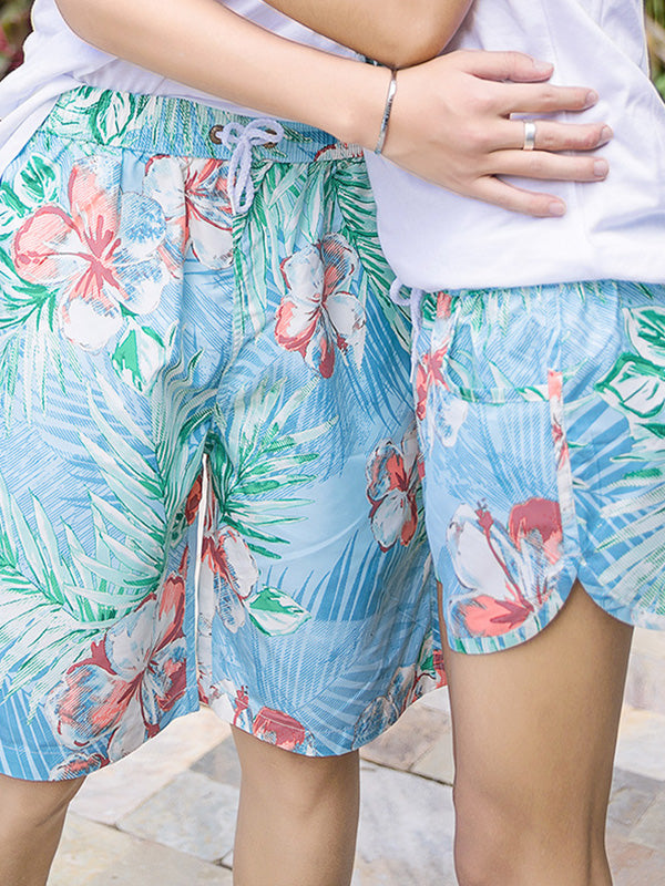 Hawaii Tropical Flowers Pattern Couple's Beach Shorts Blue