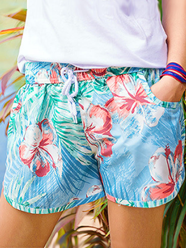 Hawaii Tropical Flowers Pattern Couple's Beach Shorts Blue Women