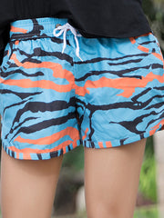 Blue and Orange Camouflage Pattern Couple's Beach Shorts Women