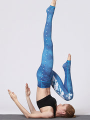 Ice Flowers Printed High-Rise Yoga Leggings