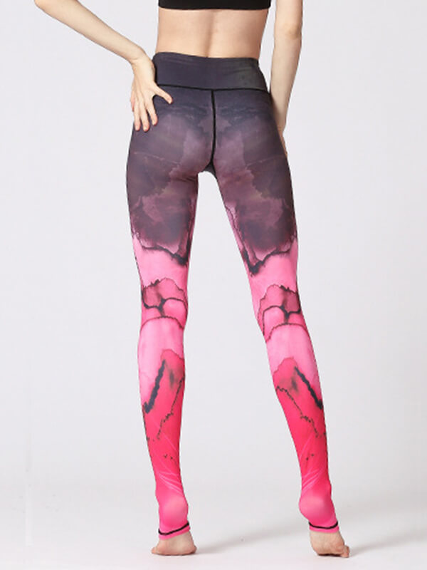 LikeBunny Pink Flowers Printed High-Rise Yoga Leggings