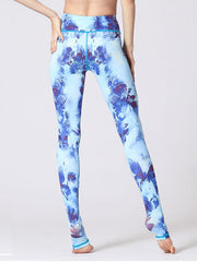 LikeBunny Blue Flowers Printed High-Rise Yoga Leggings