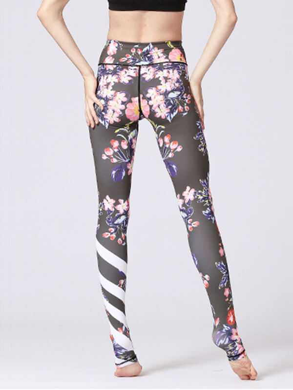 LikeBunny Black Flowers Printed High-Rise Yoga Leggings