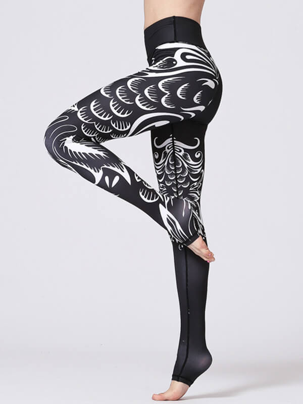 LikeBunny Black Boho Printed High-Rise Yoga Leggings