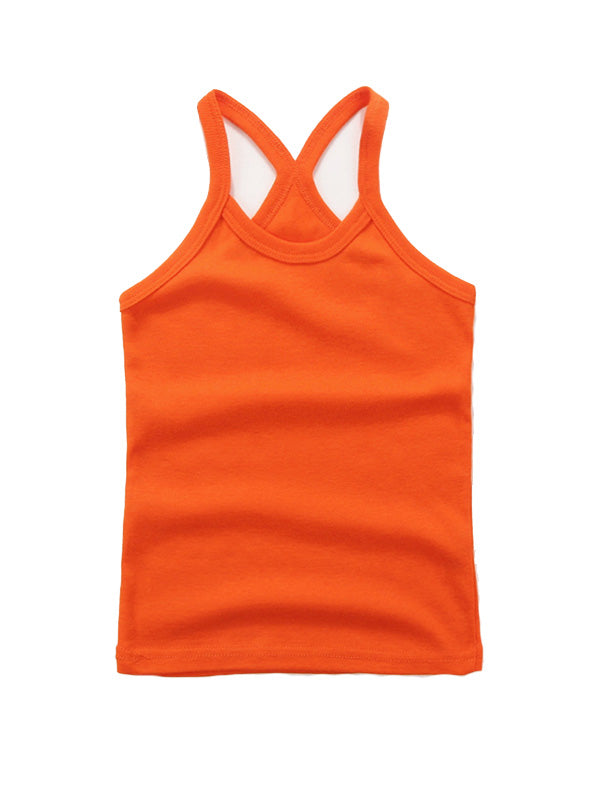 Cute Toddler Kid's Solid-color Sport Tank Top Orange