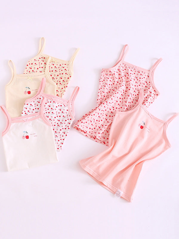 Lovely Cherry Pattern Toddler Girl's Sports Tank Top White Pink Beige