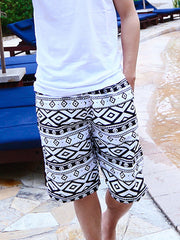 Black and White Geo Rhombus Pattern Couple's Beach Shorts Men