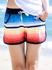 Gradual Color Pattern Couple's Beach Shorts Women