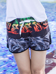 Three-color Tropical Plants Pattern Couple's Beach Shorts Women