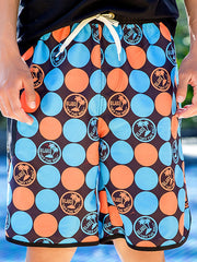 Hawaii Polka Dots Pattern Couple's Beach Shorts Blue Orange Men