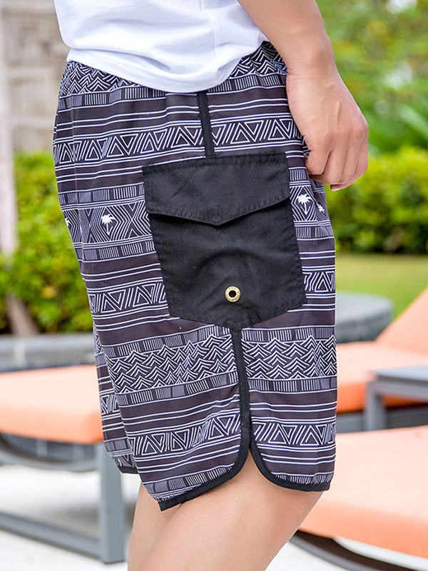 Boho Black and White Triangle Pattern Couple's Beach Shorts Men