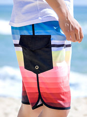 Gradual Color Pattern Couple's Beach Shorts Men