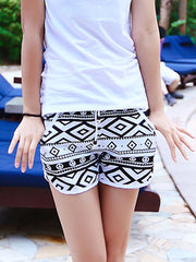 Black and White Geo Rhombus Pattern Couple's Beach Shorts Women