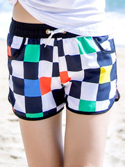 Hawaii Block Pattern Couple's Beach Shorts Women