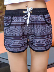 Boho Black and White Triangle Pattern Couple's Beach Shorts Women