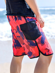 Fashion Camouflage Pattern Couple's Beach Shorts Red Men