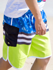 Tropical Trees Stripes Couple's Beach Shorts Green Blue Black Men
