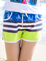 Tropical Trees Stripes Couple's Beach Shorts Green Blue Black Women