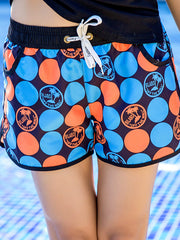 Hawaii Polka Dots Pattern Couple's Beach Shorts Blue Orange Women