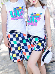 Hawaii Block Pattern Couple's Beach Shorts