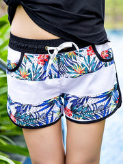 Striped Tropical Plants Pattern Couple's Beach Shorts Women Blue