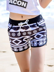 Black and White Rhombus Pattern Couple's Beach Shorts Women