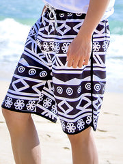 Black and White Rhombus Pattern Couple's Beach Shorts Men