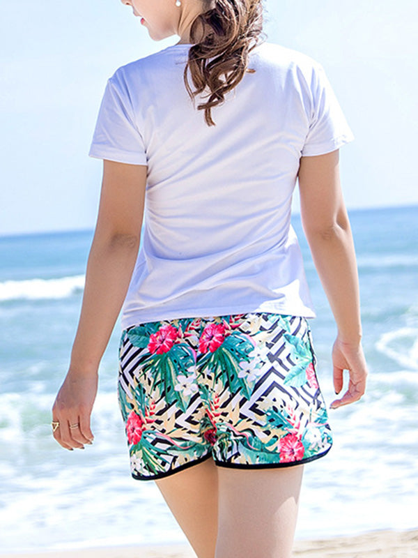 Tropical Plants Geo Pattern Couple's Beach Shorts Green Women