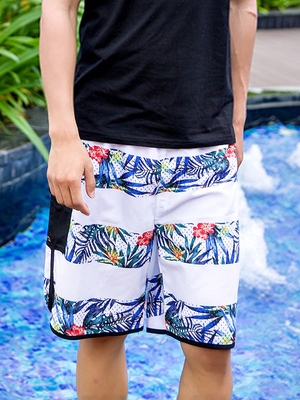 Striped Tropical Plants Pattern Couple's Beach Shorts Men Blue