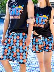 Hawaii Polka Dots Pattern Couple's Beach Shorts Blue Orange