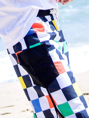 Hawaii Block Pattern Couple's Beach Shorts Men