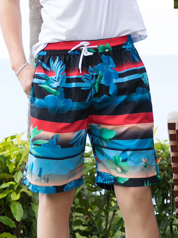 Striped Tropical Plants Pattern Couple's Beach Shorts Black Blue Red Men