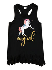 Chic Toddler Girl's Tassel Decor Unicorn Printed Sport Tank Top Black