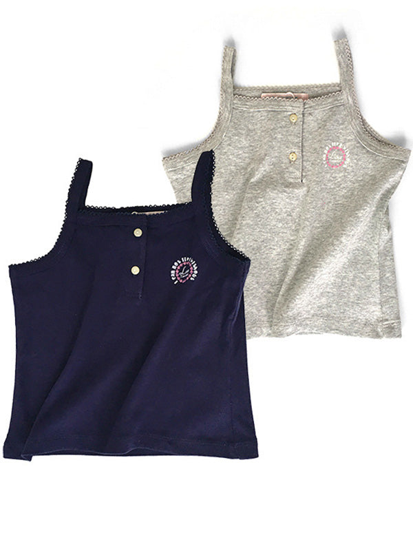 Toddler Girl's Lace Decor Logo Printed Sport Tank Top Button Grey Navy