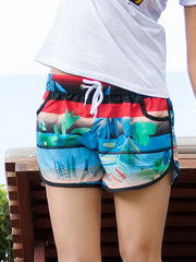 Striped Tropical Plants Pattern Couple's Beach Shorts Black Blue Red Women