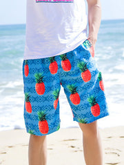 Fresh Geo Pineapple Pattern Couple's Beach Shorts Blue Orange Men