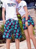 Flamingo Tropical Plant Pattern Couple's Beach Shorts Green Black