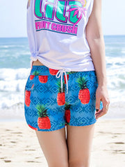 Fresh Geo Pineapple Pattern Couple's Beach Shorts Blue Orange Women